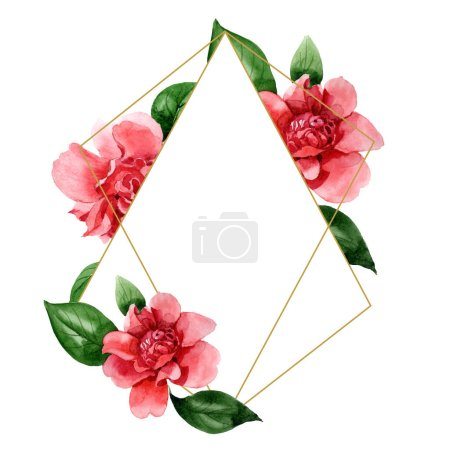 Photo for Pink camellia flowers with green leaves isolated on white. Watercolor background illustration set. Frame border ornament with copy space. - Royalty Free Image