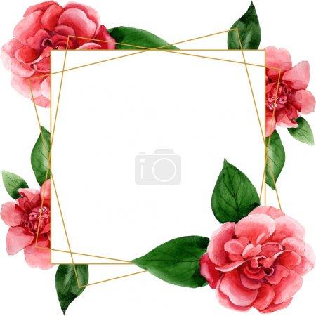 Photo pour Fleurs roses de camélia avec des feuilles vertes d'isolement sur le blanc. Ensemble d'illustration de fond d'aquarelle. Ornement de bordure de cadre avec l'espace de copie. - image libre de droit