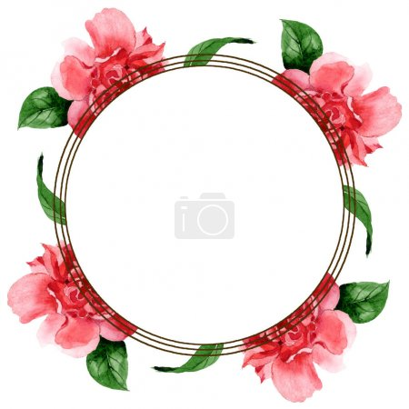 Pink camellia flowers with green leaves isolated on white. Watercolor background illustration set. Frame border ornament with copy space.