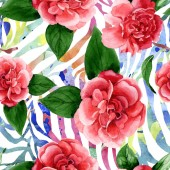"""Постер, картина, фотообои """"Pink camellia flowers with green leaves. Watercolor illustration set. Seamless background pattern. """""""