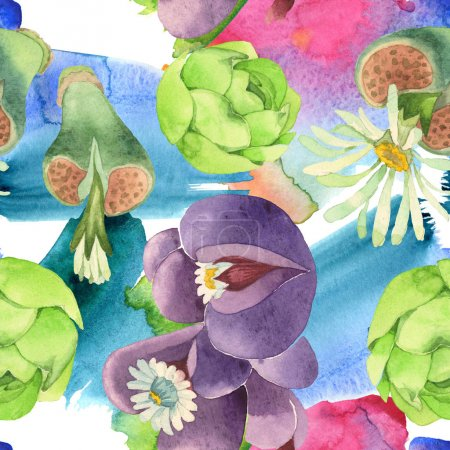 Photo for Succulent floral botanical flower. Wild spring leaf wildflower. Watercolor illustration set. Watercolour drawing fashion aquarelle. Seamless background pattern. Fabric wallpaper print texture. - Royalty Free Image