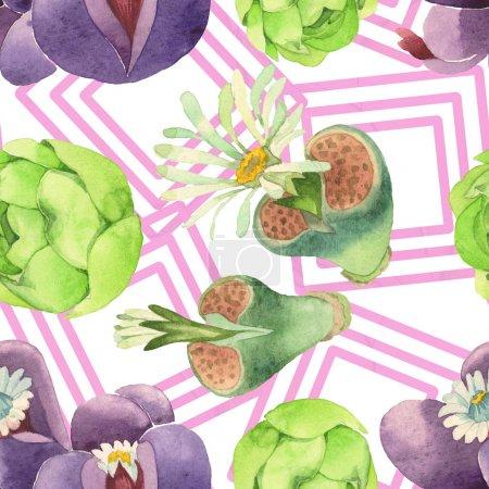 Foto de Suculenta flor botánica floral. Flor silvestre de la hoja de primavera wildflower. Conjunto de ilustraciones de acuarela. Acuarela dibujando moda acuarela. Patrón de fondo sin costuras. Textura de impresión de fondo de pantalla de tela. - Imagen libre de derechos