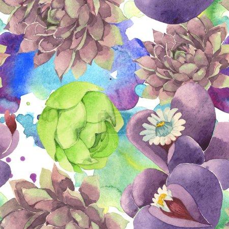 Photo pour Fleur botanique florale succulente. Feuille de printemps sauvage fleur sauvage. Ensemble d'illustration aquarelle. Aquarelle dessin mode aquarelle. Modèle de fond sans couture. Texture d'impression papier peint tissu . - image libre de droit