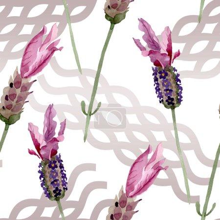 Photo pour Fleurs botaniques florales violettes lavande. Feuille de printemps sauvage fleur sauvage. Ensemble d'illustration aquarelle. Aquarelle dessin mode aquarelle. Modèle de fond sans couture. Texture d'impression papier peint tissu . - image libre de droit