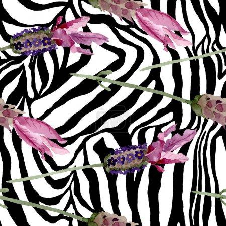Foto de Purple lavanda flores botánicas florales. Flor silvestre de hoja de primavera. Juego de ilustración en acuarela. Acuarela dibujo moda aquarelle. Patrón de fondo sin costuras. Textura de impresión de papel pintado de tela . - Imagen libre de derechos