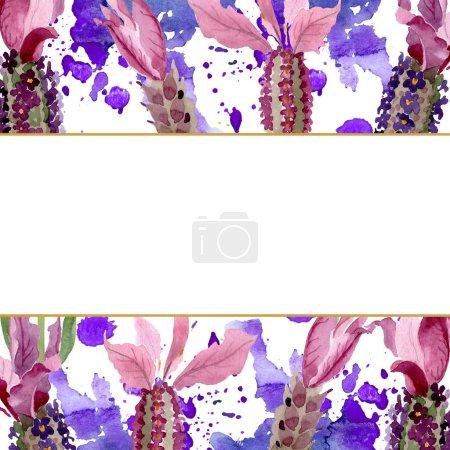 Photo pour Fleurs botaniques florales de lavande pourpre. Fleur sauvage sauvage de feuille de source. Ensemble d'illustration de fond d'aquarelle. Aquarelle de dessin à l'aquarelle. Carré d'ornement de bordure de cadre. - image libre de droit