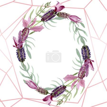 Photo pour Fleurs botaniques florales violettes lavande. Feuille de printemps sauvage fleur sauvage. Ensemble d'illustration de fond aquarelle. Aquarelle dessin mode aquarelle. Cadre bordure cristal ornement carré . - image libre de droit