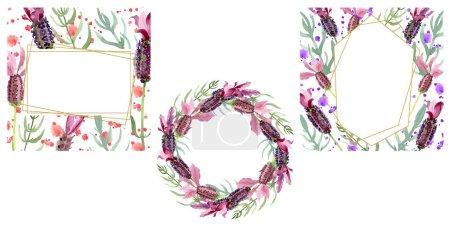 Foto de Flores botánicas florales de lavanda púrpura. Flor silvestre de la hoja de primavera wildflower. Conjunto de ilustraciones de fondo de acuarela. Acuarela dibujando moda acuarela. Marco borde cristal ornamento cuadrado. - Imagen libre de derechos