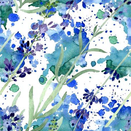 Photo pour Violet fleur botanique florale lavande. Feuille de printemps sauvage fleur sauvage. Ensemble d'illustration aquarelle. Aquarelle dessin mode aquarelle. Modèle de fond sans couture. Texture d'impression papier peint tissu . - image libre de droit