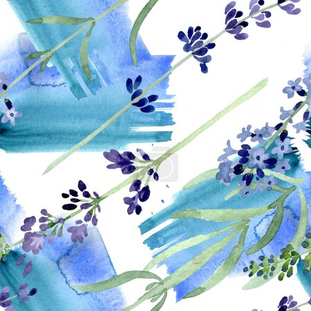 Photo for Violet lavender floral botanical flower. Wild spring leaf wildflower. Watercolor illustration set. Watercolour drawing fashion aquarelle. Seamless background pattern. Fabric wallpaper print texture. - Royalty Free Image