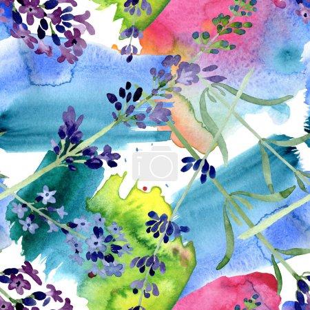 Photo pour Fleur botanique florale de lavande violette. Fleur sauvage sauvage de feuille de source. Ensemble d'illustration d'aquarelle. Aquarelle de dessin à l'aquarelle. Modèle de fond sans couture. Texture d'impression de papier peint de tissu. - image libre de droit