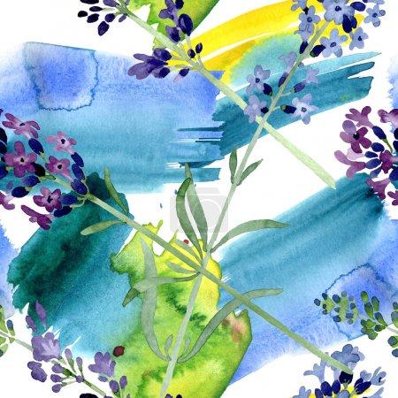 Foto de Flor botánica floral de lavanda violeta. Flor silvestre de la hoja de primavera wildflower. Conjunto de ilustraciones de acuarela. Acuarela dibujando moda acuarela. Patrón de fondo sin costuras. Textura de impresión de fondo de pantalla de tela. - Imagen libre de derechos