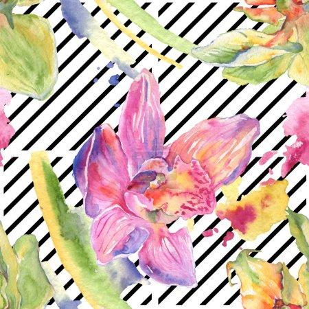 Photo pour Fleurs botaniques florales d'orchidée. Feuille de printemps sauvage fleur sauvage. Ensemble d'illustration aquarelle. Aquarelle dessin mode aquarelle. Modèle de fond sans couture. Texture d'impression papier peint tissu . - image libre de droit
