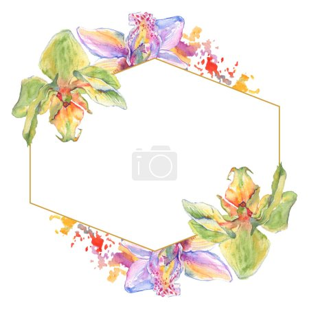 Photo for Orchid floral botanical flowers. Wild spring leaf wildflower isolated. Watercolor background illustration set. Watercolour drawing fashion aquarelle. Frame border crystal ornament square. - Royalty Free Image