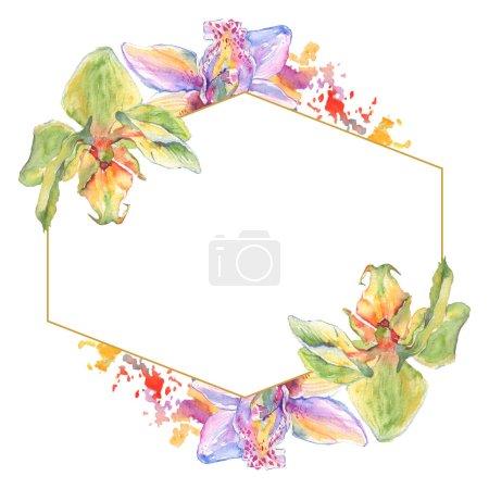 Foto de Flores botánicas florales de orquídeas. Hoja de primavera silvestre wildflower aislado. Conjunto de ilustraciones de fondo de acuarela. Acuarela dibujando moda acuarela. Marco borde cristal ornamento cuadrado. - Imagen libre de derechos