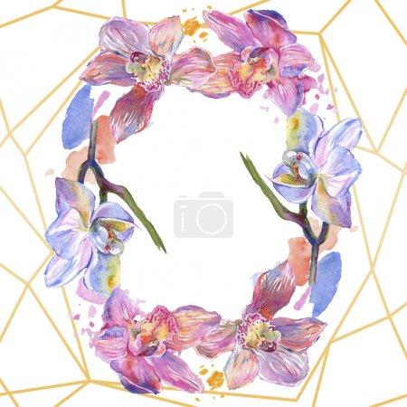 Photo pour Fleurs botaniques florales d'orchidée. Feuille sauvage de printemps fleur sauvage isolée. Ensemble d'illustration de fond aquarelle. Aquarelle dessin mode aquarelle. Cadre bordure cristal ornement carré . - image libre de droit