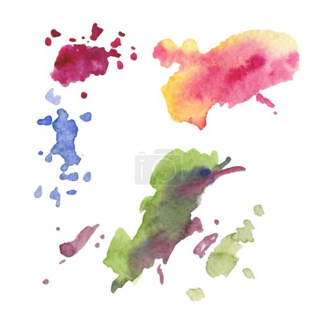 Photo for Abstract watercolor paper splash shapes isolated drawing. Illustration aquarelle for background, texture, wrapper pattern, frame or border. Watercolour drawing brush stain design. - Royalty Free Image