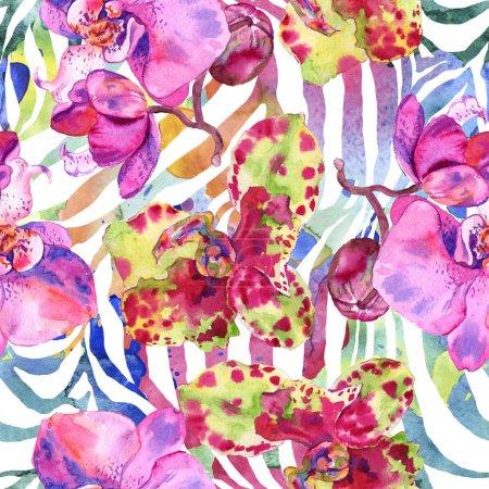 Photo pour Orchidée fleur botanique florale. Feuille de printemps sauvage fleur sauvage. Ensemble d'illustration aquarelle. Aquarelle dessin mode aquarelle. Modèle de fond sans couture. Texture d'impression papier peint tissu . - image libre de droit