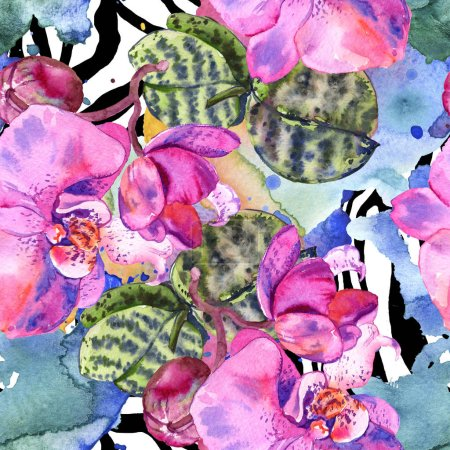 Photo for Orchid floral botanical flower. Wild spring leaf wildflower. Watercolor illustration set. Watercolour drawing fashion aquarelle. Seamless background pattern. Fabric wallpaper print texture. - Royalty Free Image