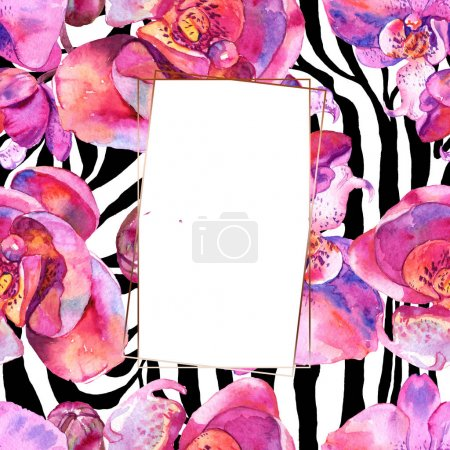Photo for Orchid floral botanical flower. Wild spring leaf wildflower isolated. Watercolor background illustration set. Watercolour drawing fashion aquarelle isolated. Frame border ornament square. - Royalty Free Image