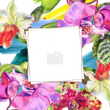 Photo pour Fleur botanique florale d'orchidée. Fleur sauvage de neige sauvage de feuille de source d'isolement. Ensemble d'illustration de fond d'aquarelle. Aquarelle de mode de dessin d'aquarelle d'aquarelle d'aquarelle. Carré d'ornement de bordure de cadre. - image libre de droit