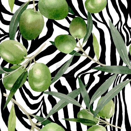 Photo pour Branche d'olivier aux fruits noirs et verts. Ensemble d'illustration de fond aquarelle. Aquarelle dessin mode aquarelle isolé. Modèle de fond sans couture. Texture d'impression papier peint tissu . - image libre de droit