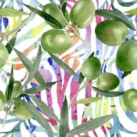 Foto de Rama de olivo con fruta negra y verde. Conjunto de ilustración de fondo acuarela. Acuarela dibujo moda acuarela aislado. Patrón de fondo sin costuras. Textura de impresión de papel pintado de tela . - Imagen libre de derechos