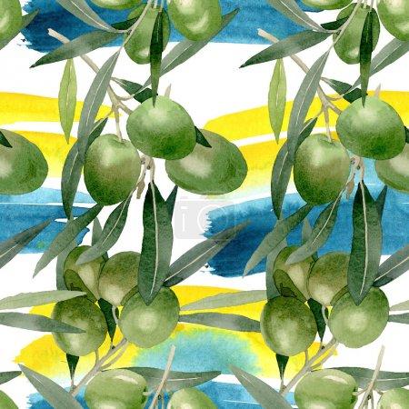 Photo pour Branche d'Olivier avec des fruits noirs et verts. Ensemble d'illustration de fond aquarelle. Aquarelle dessin mode aquarelle isolé. Motif de fond transparent. Texture d'impression papier peint tissu. - image libre de droit