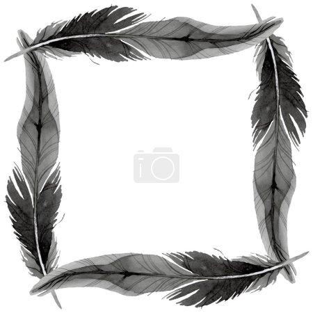 Photo pour Plume d'oiseau de l'aile isolée. Ensemble d'illustration de fond aquarelle. Aquarelle dessin mode aquarelle isolé. Cadre bordure ornement carré . - image libre de droit