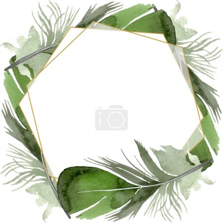 Photo for Bird feather from wing isolated. Watercolor background illustration set. Watercolour drawing fashion aquarelle isolated. Frame border crystal ornament square. - Royalty Free Image