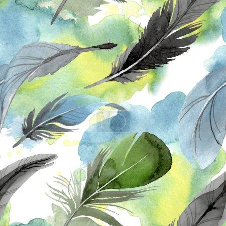Photo pour Plume d'oiseau d'aile isolé. Aquarelle de fond illustration ensemble. Aquarelle de mode dessin aquarelle isolé. Motif de fond transparente. Impression texture de tissu papier peint. - image libre de droit