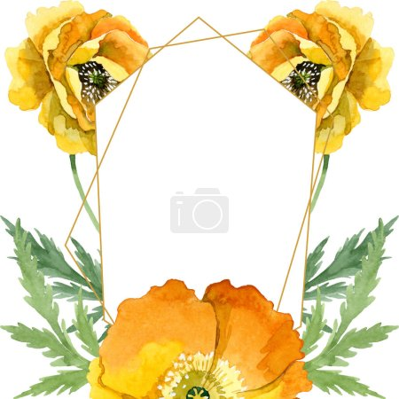 Yellow poppy floral botanical flowers. Watercolor background illustration set. Frame border ornament square.