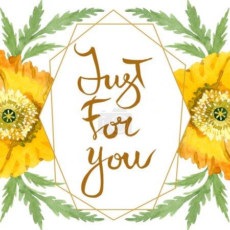 Photo pour Fleurs botaniques florales de pavot jaune. Feuille sauvage de printemps fleur sauvage isolée. Ensemble d'illustration de fond aquarelle. Aquarelle dessin mode aquarelle. Cadre bordure cristal ornement carré . - image libre de droit