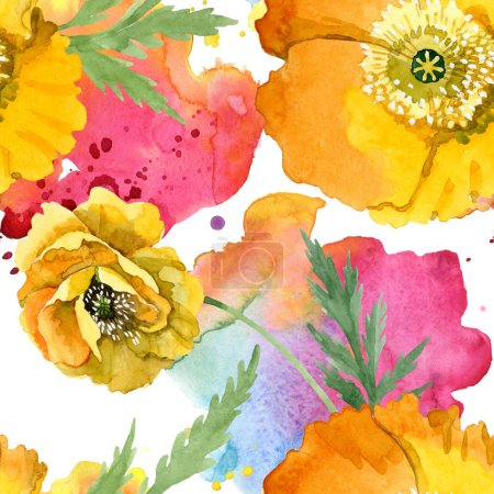 Photo for Yellow poppy floral botanical flowers. Wild spring leaf wildflower. Watercolor illustration set. Watercolour drawing fashion aquarelle. Seamless background pattern. Fabric wallpaper print texture. - Royalty Free Image