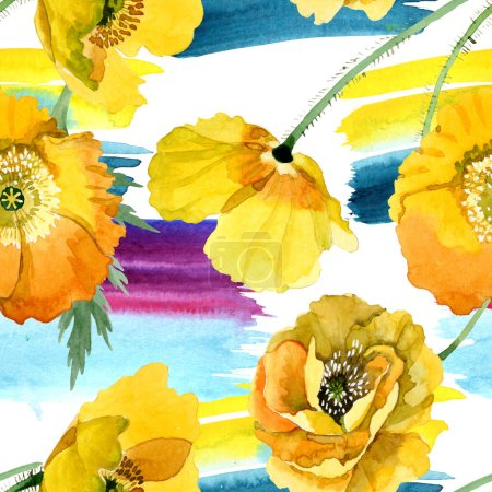 Photo pour Fleurs botaniques florales jaunes de pavot. Fleur sauvage sauvage de feuille de source. Ensemble d'illustration d'aquarelle. Aquarelle de dessin à l'aquarelle. Modèle de fond sans couture. Texture d'impression de papier peint de tissu. - image libre de droit