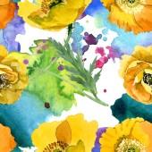 """Постер, картина, фотообои """"цветочные растительные цветы желтого мака. Набор фоновых иллюстраций акварели. Бесшовный фоновый шаблон."""""""