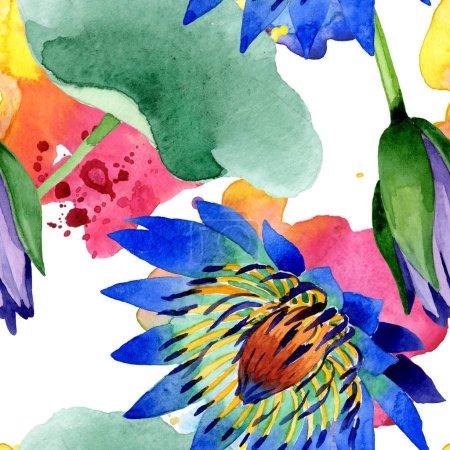 Photo pour Fleurs botaniques florales de lotus bleu. Feuille de printemps sauvage fleur sauvage. Ensemble d'illustration aquarelle. Aquarelle dessin mode aquarelle. Modèle de fond sans couture. Texture d'impression papier peint tissu . - image libre de droit