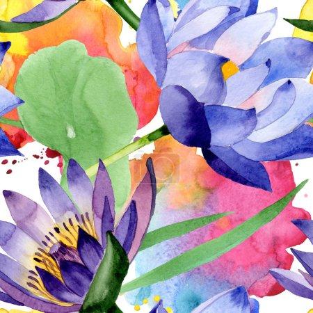 Photo pour Fleurs botaniques florales de lotus bleu. Fleur sauvage sauvage de feuille de source. Ensemble d'illustration d'aquarelle. Aquarelle de dessin à l'aquarelle. Modèle de fond sans couture. Texture d'impression de papier peint de tissu. - image libre de droit
