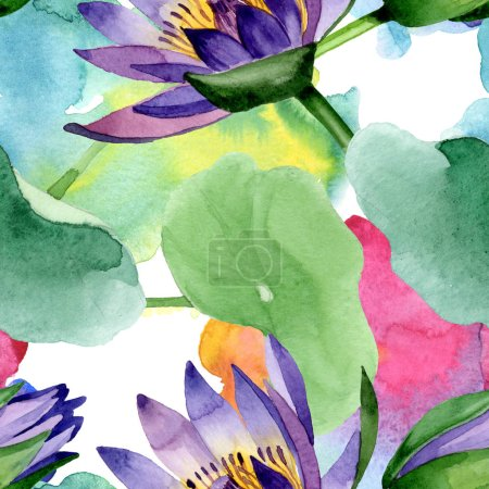 Photo for Blue lotus floral botanical flowers. Wild spring leaf wildflower. Watercolor illustration set. Watercolour drawing fashion aquarelle. Seamless background pattern. Fabric wallpaper print texture. - Royalty Free Image