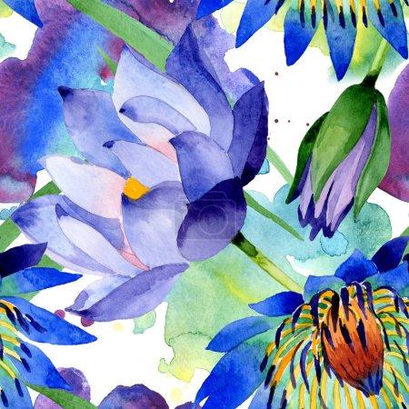 Foto de Flores botánicas florales de loto azul. Flor silvestre de la hoja de primavera wildflower. Conjunto de ilustraciones de acuarela. Acuarela dibujando moda acuarela. Patrón de fondo sin costuras. Textura de impresión de fondo de pantalla de tela. - Imagen libre de derechos
