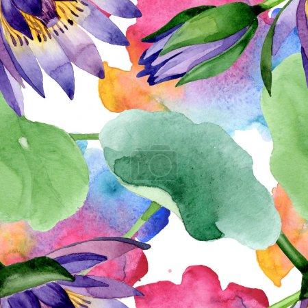 Foto de Flores botánicas de loto azul. Flor silvestre de hoja de primavera. Juego de ilustración en acuarela. Acuarela dibujo moda aquarelle. Patrón de fondo sin costuras. Textura de impresión de papel pintado de tela . - Imagen libre de derechos