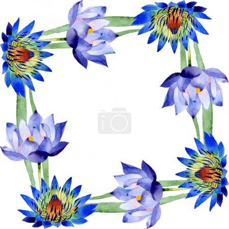 Photo pour Fleurs botaniques florales de lotus bleu. Fleur sauvage de neige sauvage de feuille de source d'isolement. Ensemble d'illustration de fond d'aquarelle. Aquarelle de mode de dessin d'aquarelle d'aquarelle d'aquarelle. Carré d'ornement de bordure de cadre. - image libre de droit