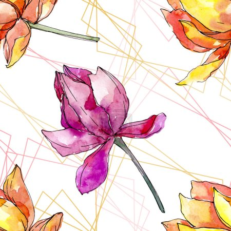 Photo pour Lotus fleurs botaniques florales. Feuille sauvage de printemps fleur sauvage isolée. Ensemble d'illustration aquarelle. Aquarelle dessin mode aquarelle. Modèle de fond sans couture. Texture d'impression papier peint tissu . - image libre de droit