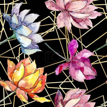 Photo pour Fleurs botaniques florales de lotus. Fleur sauvage de neige sauvage de feuille de source d'isolement. Ensemble d'illustration d'aquarelle. Aquarelle de dessin à l'aquarelle. Modèle de fond sans couture. Texture d'impression de papier peint de tissu. - image libre de droit