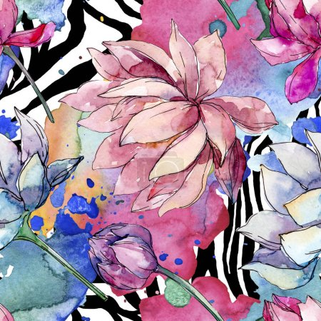 Photo for Lotus floral botanical flowers. Wild spring leaf wildflower isolated. Watercolor illustration set. Watercolour drawing fashion aquarelle. Seamless background pattern. Fabric wallpaper print texture. - Royalty Free Image