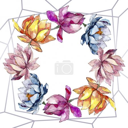 Photo pour Fleurs botaniques florales de lotus. Fleur sauvage de neige sauvage de feuille de source d'isolement. Ensemble d'illustration de fond d'aquarelle. Aquarelle de mode de dessin d'aquarelle d'aquarelle d'aquarelle. Carré d'ornement de cristal de bordure de cadre. - image libre de droit