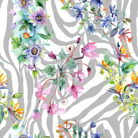 Foto de Bouquet floral botanical flowers. Wild spring leaf wildflower. Watercolor illustration set. Watercolour drawing fashion aquarelle. Seamless background pattern. Fabric wallpaper print texture. - Imagen libre de derechos