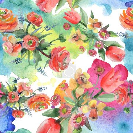 Photo pour Bouquet floral de fleurs botaniques. Feuille de printemps sauvage fleur sauvage. Ensemble d'illustration aquarelle. Aquarelle dessin mode aquarelle. Modèle de fond sans couture. Texture d'impression papier peint tissu . - image libre de droit