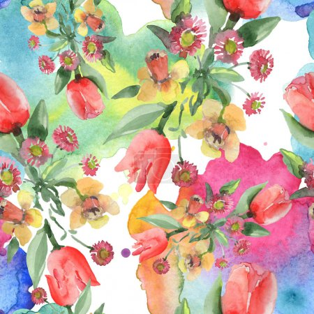 Photo for Bouquet floral botanical flowers. Wild spring leaf wildflower. Watercolor illustration set. Watercolour drawing fashion aquarelle. Seamless background pattern. Fabric wallpaper print texture. - Royalty Free Image
