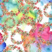 """Постер, картина, фотообои """"Букет цветочный ботанического цветы. Акварель фон иллюстрации набора. Бесшовный фон узор."""""""